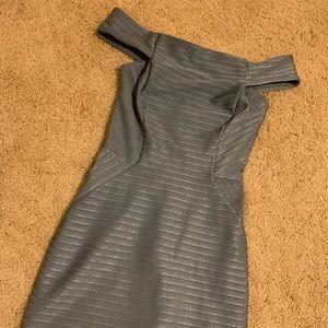 Greyish blue off the shoulder dress by Topshop